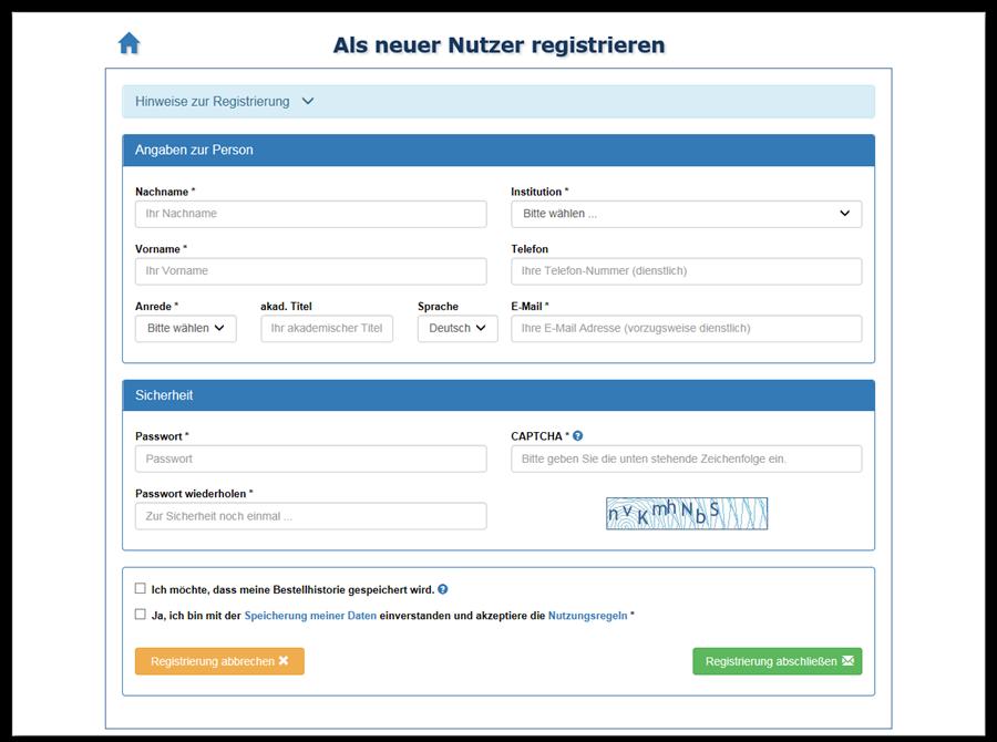 Screenshot Registrieren